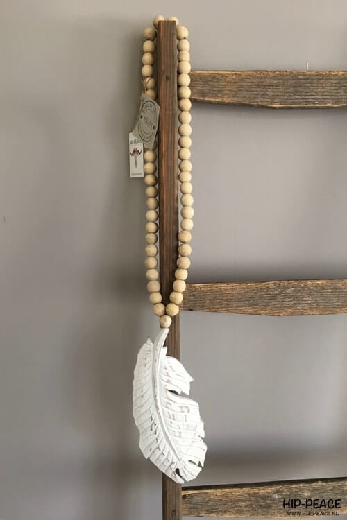 Hip-Peace Mala houten veer met kralen