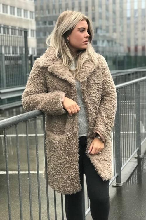 Fluffy jas lichtgrijs