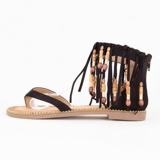 Ibiza sandaal zwart fringes