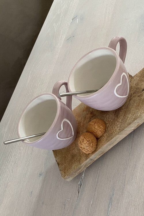 Cappuccino mok met hart roze