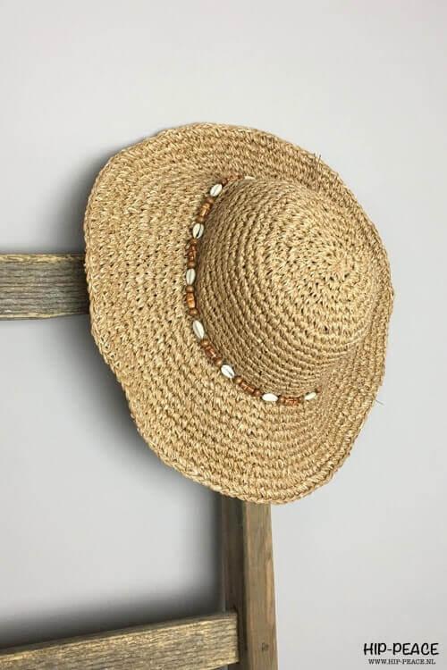 Rieten ibiza schelpen hoed