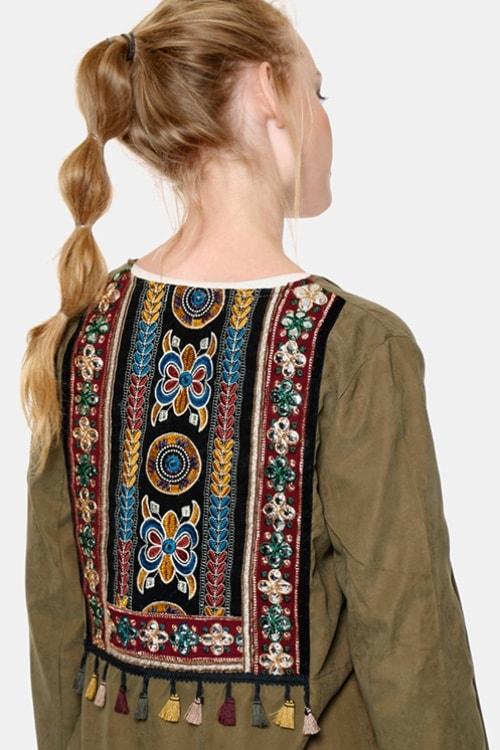Meisie blouse-Bohemian-Army green