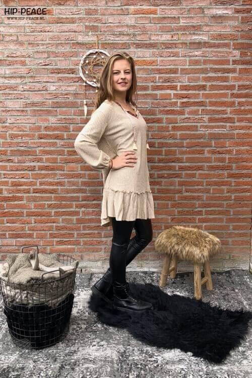Nud Tulsa comfy jurkje met tassels