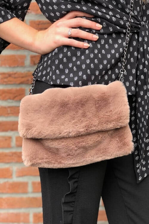 Hip-Peace bag fake fur taupe