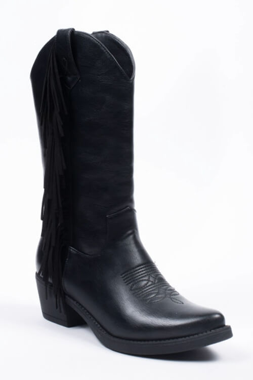 Cowboy boots fringes zwart