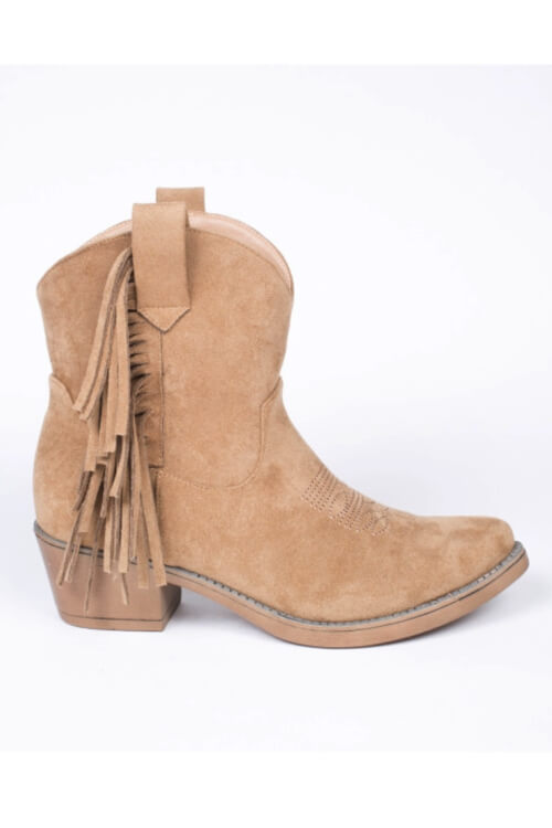 Hip-Peace fringes boots short beige
