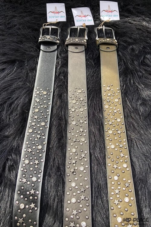 Hip-Peace riem studs zwart-zilver